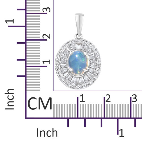 Rare Size - Ethiopian Welo Opal (Ovl 9x7 mm), Natural Cambodian Zircon Pendant in Platinum Overlay Sterling Silver 3.000 Ct.