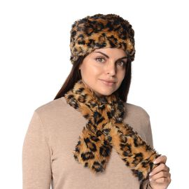 2 Piece Set - Leopard Pattern Faux Fur Winter Scarf (Size 11.5x92 Cm) and Cossack Hat (Size 58 Cm) -
