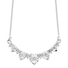 Diamond (Rnd) Necklace with Chain (Size 18 with 2 inch Extender) in Platinum Overlay Sterling Silver 0.100 Ct.