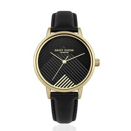 Limited Edition Daisy Dixon Jade Watch with Black and Gold Patterned Dial and Black Strap