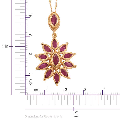 African Ruby (Mrq) Floral Pendant with Chain in 14K Gold Overlay Sterling Silver 2.500 Ct.