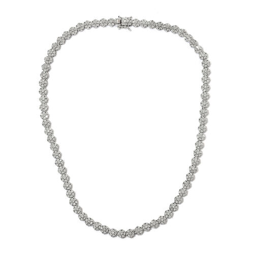 GP Diamond and Blue Sapphire Floral Tennis Design Necklace in Platinum Plated Silver 18 Inch