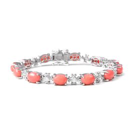 16.75 Ct Living Coral and Zircon Vintage Design Bracelet in Rhodium Plated Silver 18 Grams 8 Inch
