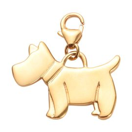 14K Gold Overlay Sterling Silver Scottish Terrier Dog Charm, Silver wt 3.32 Gms