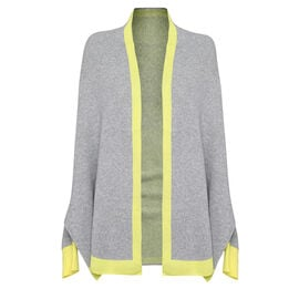 Kris Ana Coloured Border Cardigan One Size (8-20); L=70 Cm - Grey and Yellow