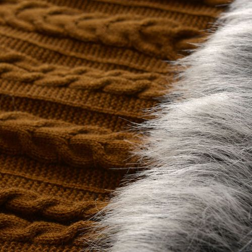 Chocolate Colour Knitted Snood (Free Size) and Hand Gloves with Fur