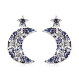 GP 3.75 Ct Tanzanite and Multi Gemstone Moon and Star Earrings in Platinum and Black Plated Silver