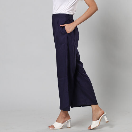 100% Viscose Palazzo Pants with Elasticated Waist and Flared Hem (Size S/M, 10-14) - NAVY