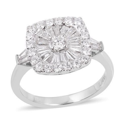 ILIANA 1 Carat Diamond Cluster Ring in 18K White Gold 5 Grams IGI Certified SI GH