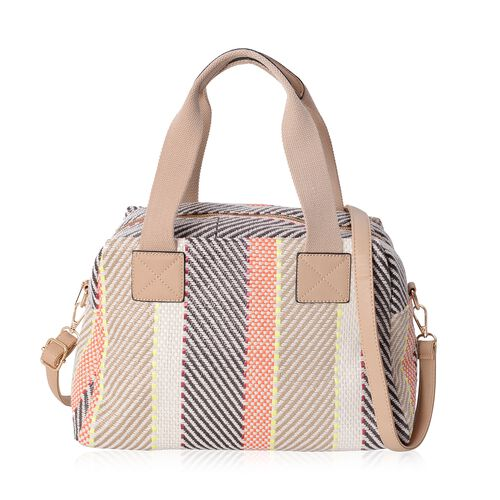 Multi Colour Middle Size Tote Bag with Removable Shoulder Strap (Size 34x23x17 Cm)