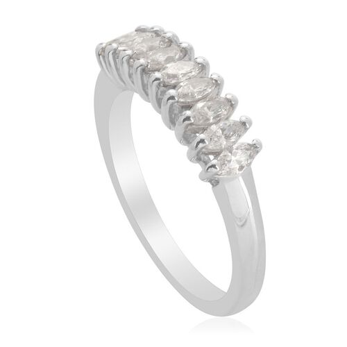 J Francis - Platinum Overlay Sterling Silver (Mrq) Ring Made with SWAROVSKI ZIRCONIA  0.720 Ct.
