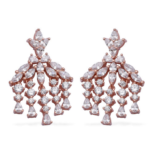 ELANZA Simulated Diamond Dangle Earrings (with Push Back) in Rose Gold Overlay Sterling Silver, SIlv