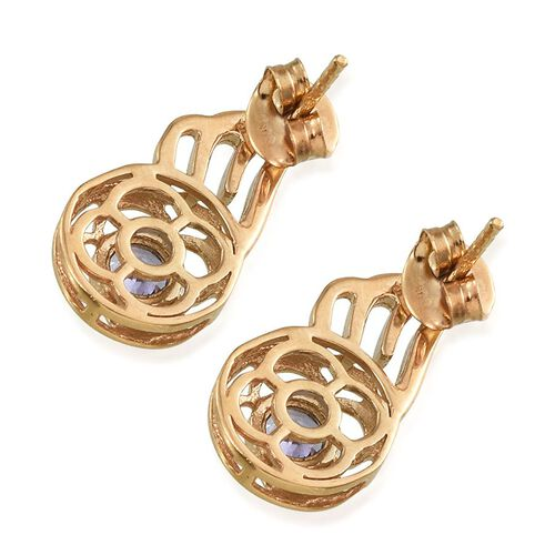 Tanzanite (Rnd) Earrings (with Push Back) in 14K Gold Overlay Sterling Silver 0.500 Ct.