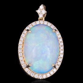 ILIANA 18K Yellow Gold AAAA Ethiopian Welo Opal and Natural Cambodian Diamond (G-H/S-I) Pendant 9.05