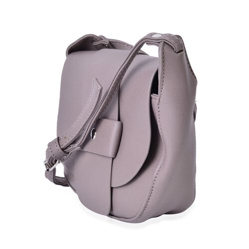 Grey Colour Crossbody Bag with Magnetic Closure Flap and Adjustable Shoulder Strap (Size 19x16x6 Cm)
