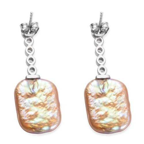 Baroque Pearl and Natural Cambodian Zircon Earrings (with Push Back) in Platinum Overlay Sterling Silver