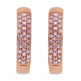 9K Rose Gold Pink Diamond Earrings with Clasp 0.50 Ct.