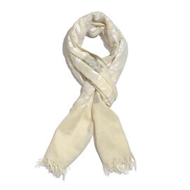 Limited Edition- Designer Inspired 100% Merino Wool White and Grey Colour Floral and Leaves Embroide
