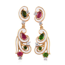 GP African Ruby, Russian Diopside, Blue Sapphire and Natural Cambodian Zircon Enamelled Dangle Earri