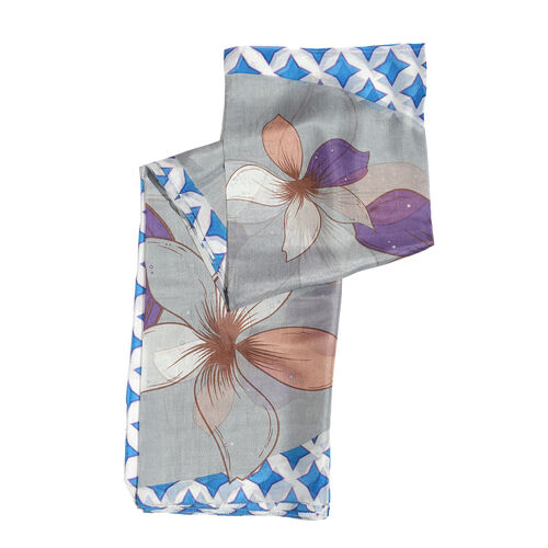 One Time Deal - 100% Mulberry Silk Grey, White, Blue and Multi Colour Floral Pattern Printed Scarf (Size 180x100 Cm)