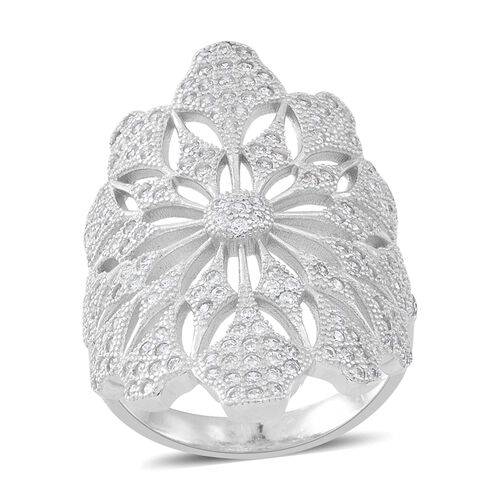 Signature Collection ELANZA Simulated White Diamond (Rnd) Floral Ring in Rhodium Plated Sterling Sil