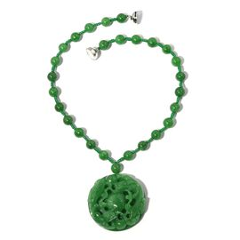 Carved Green Jade Necklace (Size 18) in Rhodium Overlay Sterling Silver 624.000 Ct