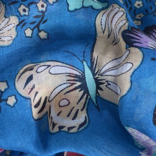 Blue and Multi Colour Flower and Butterfly Pattern 100% Modal Kaftan (Size 85x65 Cm)