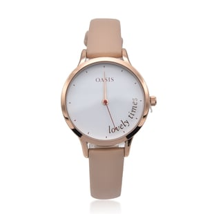 OASIS Rose Gold Tone Watch with White Dial and Cream Strap
