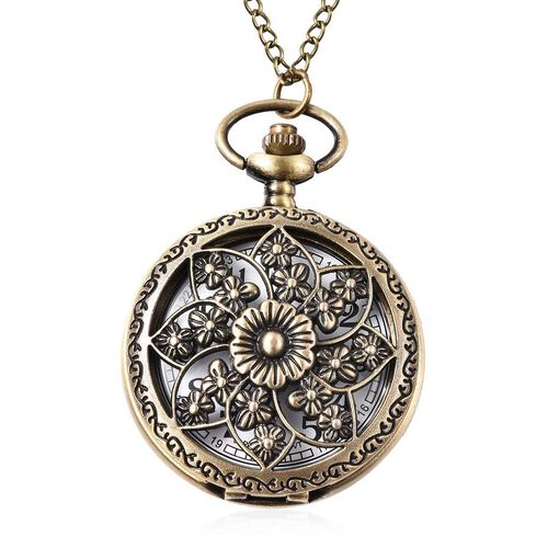 STRADA Japanese Movement Flower Pattern Pocket Watch with Chain (Size 31) in Antique Bronze Plated