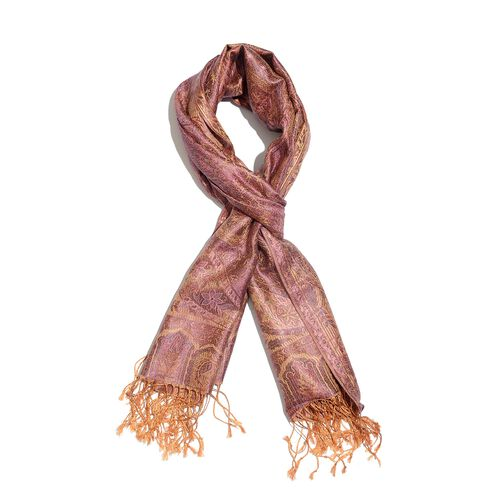 SILK MARK - 100% Superfine Silk Rose Red and Multi Colour Paisley and Floral Pattern Jacquard Jamawar Scarf with Tassels (Size 180X70 Cm) (Weight 125 to 140 Gms)