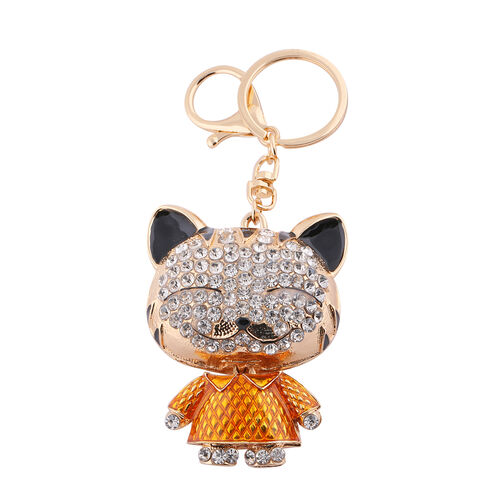 3 Piece Set - Multi Colour and White Austrian Crystal Enamelled Unicorn, Cat and Handbag Key Chain in Silver and Gold Tone