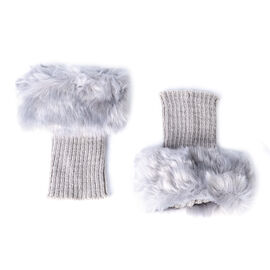 Pair of Crochet Faux Fur Knit Boot Toppers-Light Grey Size:W15*L25cm Material:acrylic Weight:65g