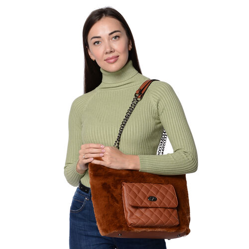 Faux Fur Tote Bag with Front Quilted Pattern Pocket and Zipper Closure (Size 33x27.5x12 Cm) - Brown