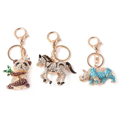 Set of 3 - White, Black and Multi Colour Austrian Crystal Koala, Horse and Hippo Enamelled Keychain