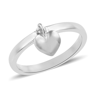 Supreme Finish Love Heart Charm Stacking Band Ring in Platinum Plated Silver