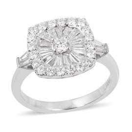 ILIANA 18K White Gold 1 Carat IGI Certified Diamond (SI/G-H) Cluster Ring