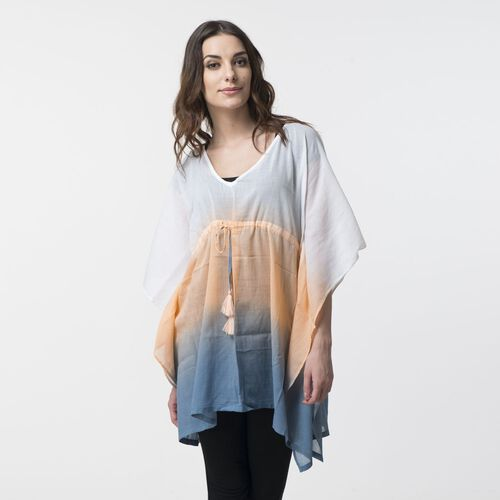 100% Cotton Blue, Peach and White Colour Ombre Effects Poncho (Size 85x60 Cm)