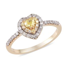 14K Yellow Gold Natural Yellow Diamond and White Diamond Heart Ring 0.50 Ct.