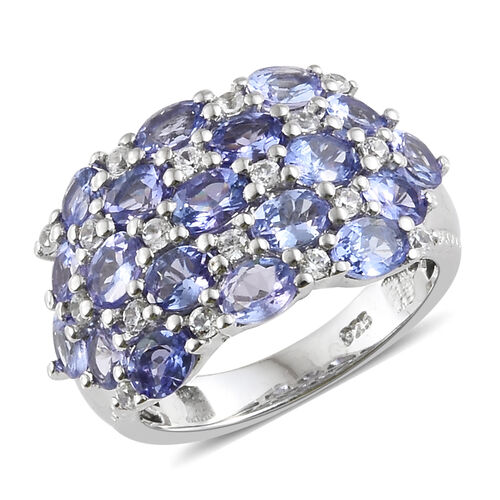 AA Tanzanite (Ovl), Natural Cambodian Zircon Clusture Ring in Platinum Overlay Sterling Silver 3.500 Ct., Silver wt 5.15 Gms.