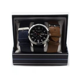 Thomas Calvi Black Dial Mens Quartz Watch Gift Set with Interchangeable Straps in Silver Tone