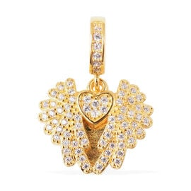 Charmes De Memoire - Simulated Diamond Heart with Angel Wings Charm in Yellow Gold Overlay Sterling