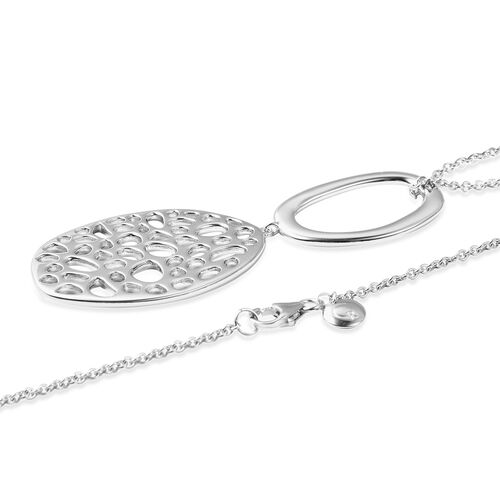 RACHEL GALLEY Rhodium Plated Sterling Silver Lattice Pendant with Chain (Size 30), Silver wt 20.94 Gms.