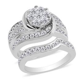 New York Close Out Deal- Set of 2 14K White Gold Diamond (Rnd) (I1-I2 /G-H) Ring 2.001 Ct, Gold wt 13.81 Gms.