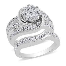 New York Close Out Deal- Set of 2 14K White Gold Diamond (Rnd) (I1-I2 /G-H) Ring 2.001 Ct, Gold wt 1