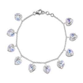 J Francis AB Crystal from Swarovski Heart Charm Bracelet in Silver 7.5 with 0.5 inch Extender
