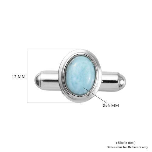 Larimar Cufflink in Platinum Overlay Sterling Silver 3.00 Ct, Silver wt 5.00 Gms