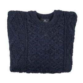 ARAN 100% Pure New Wool Irish Sweater - Blue
