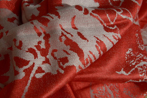 SILK MARK - 100% Superfine Silk Red and Silver Colour Jacquard Jamawar shawl (Size 180x70 Cm) (Weight 125-140 Grams)