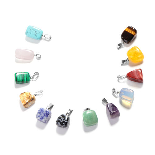 Christmas Cracker Deal- Set of 12 - Multi Gemstone Cuboid Pendant in Silver Tone