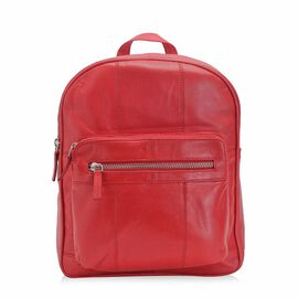 100% Genuine Leather Red Colour Backpack with Multi Pockets (Size 23x28x7 Cm)